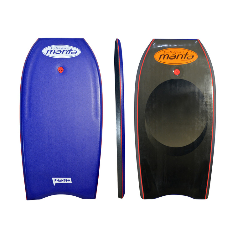 """Manta Phantom PE offers mid level great value bodyboarding. PE core offers great recoil and with twin stringers and half deck contour the rider is in control. For most conditions. Deep Blue deck with manta """"circle art""""slick"""
