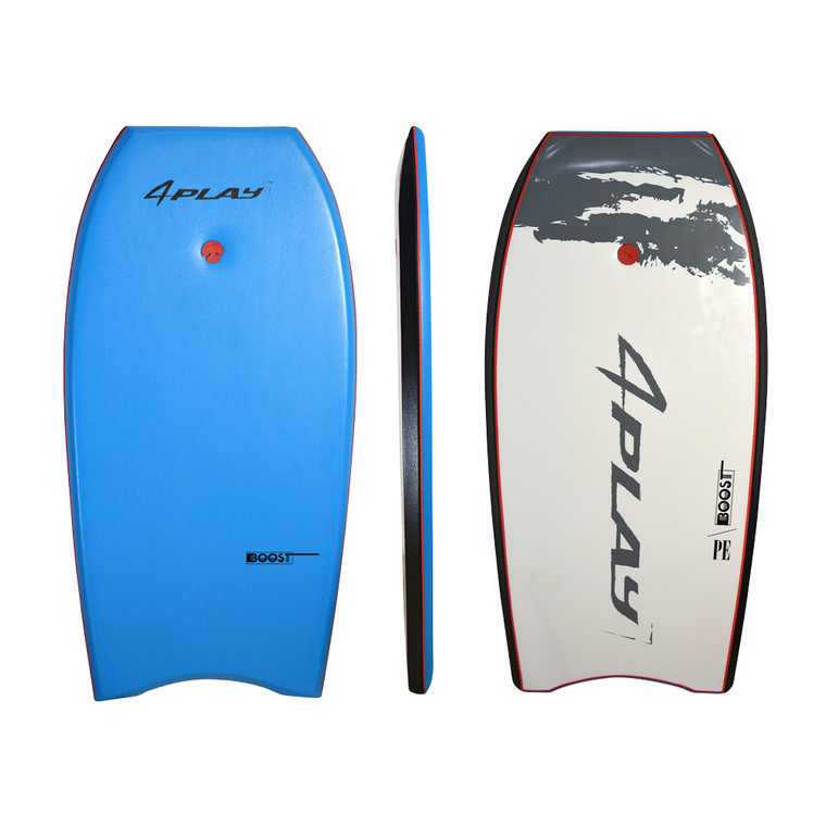"""4Play Boost  - with PE core, deck substrate and twin stringers. A tight hi-flex PE board with great recoil. Available with 40/42/44"""" lengths. Perfect, classy  mid level 4Play PE board good for up to 6' breakers. Ice Blue with white slick."""