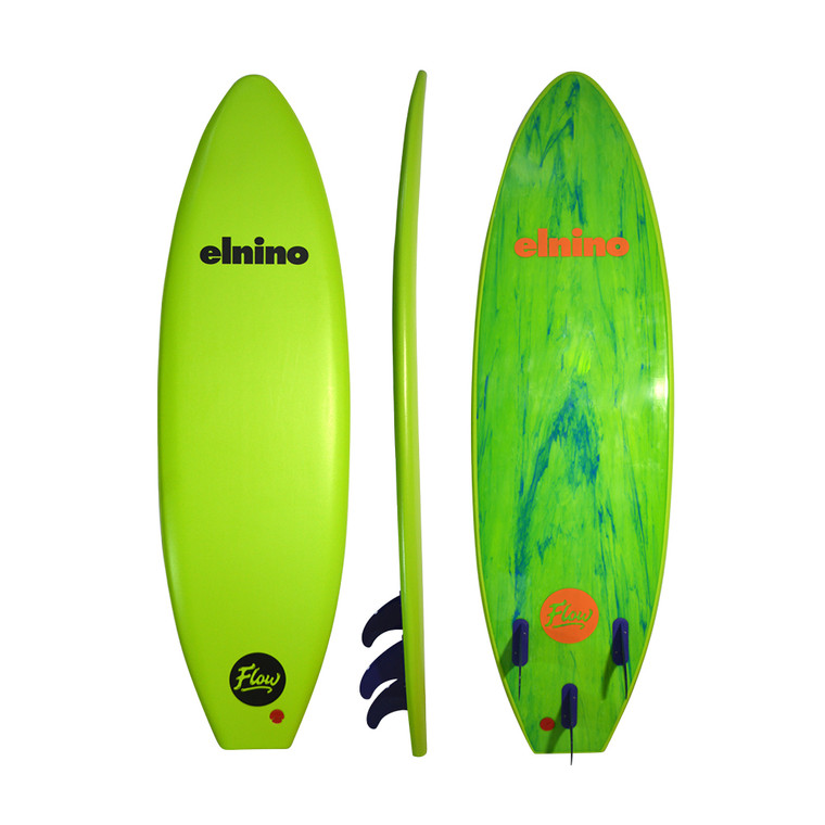 Elnino Flow 6' with powerful traditional template. Great for experienced riders (85kg)and junior riders (up to 75kg) starting out. Comes with detachable fin system and elnino legrope. Lime green deck with blue/green marble slick