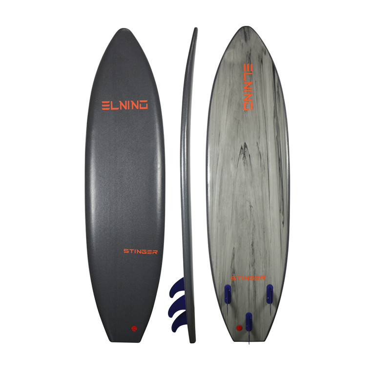 2020 Elnino STINGER - Quartz Grey deck and MARBELISED GREY slick. With single swivel legrope and detachable triple fin system