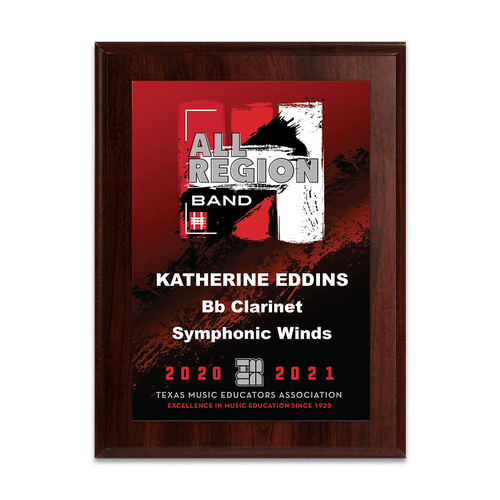 2020-2021 TMEA Region Band 6x8 Plaque