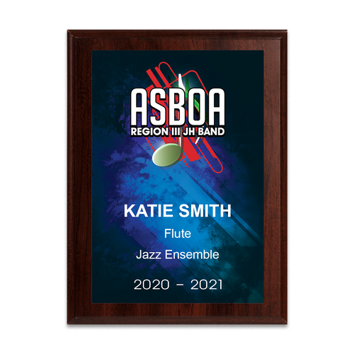 2020 ASBOA Region III JH Band 6x8 Plaque