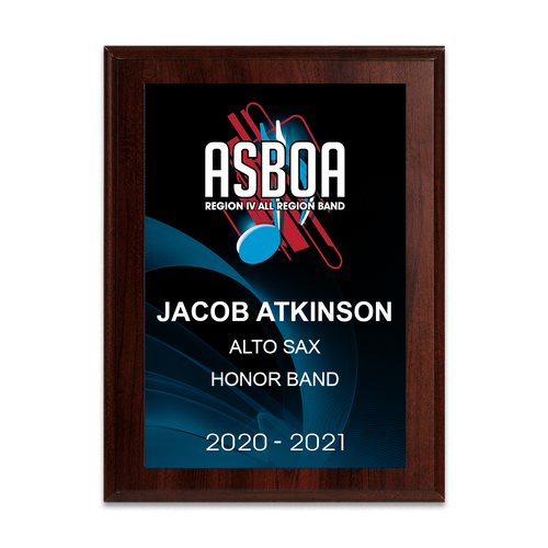 2020-2021 ASBOA Region IV Band 6x8 Plaque