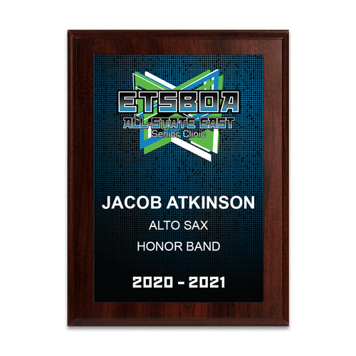 2020-2021 ETSBOA All-State East Senior Clinic 6x8 Event Plaque