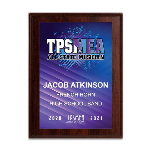 2020-2021 TPSMEA All-State 8x10 Plaque