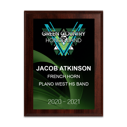 2020-2021 Green Country Honor Band 6x8 Plaque