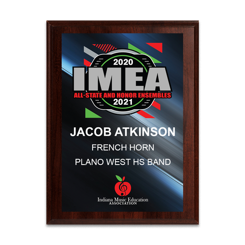 2020-2021 IMEA All-State and Honor Ensembles 8x10 Plaque