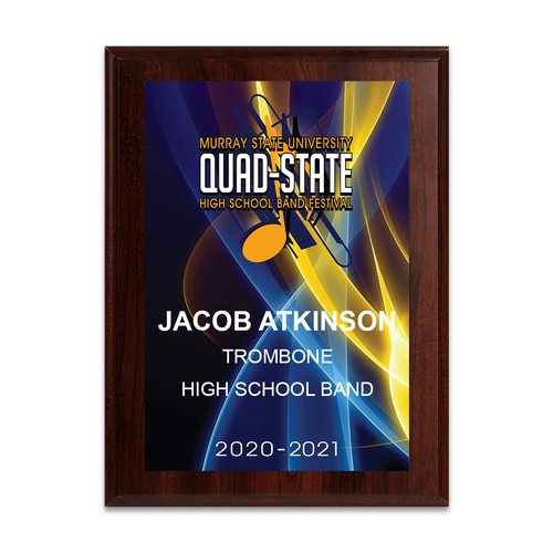 2020-2021 Murray State University Quad-State Festival 6x8 Event Plaque
