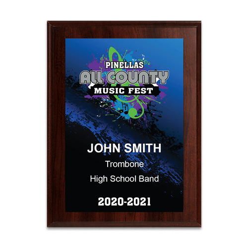 2020-2021 Pinellas All County Music Festival  6x8 Plaque