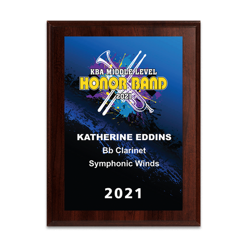 2021 KBA Middle Level Honor Band 8x10 Plaque