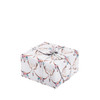 The same size as a standard sheet of wrapping paper (68cm x 48cm).  Pictured here wrapping a medium sized gift (19cm x 19cm x 11cm).