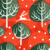 Fabric close-up - Winter Trees design in Red Berry