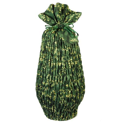 Large Stretch fabric wrap in Holly Green / Gold.  Used here to wrap a large vase (46cm high).