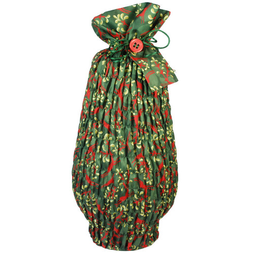 Large Stretch fabric wrap in Holly Green / Red.  Used here to wrap a large vase (46cm high).