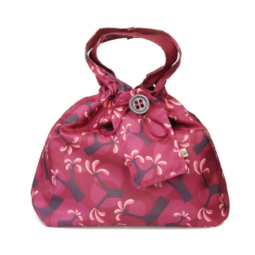 Medium fabric Gift Bag in Raspberry.  Used here to wrap a box (W23cm x H14cm x D14cm).