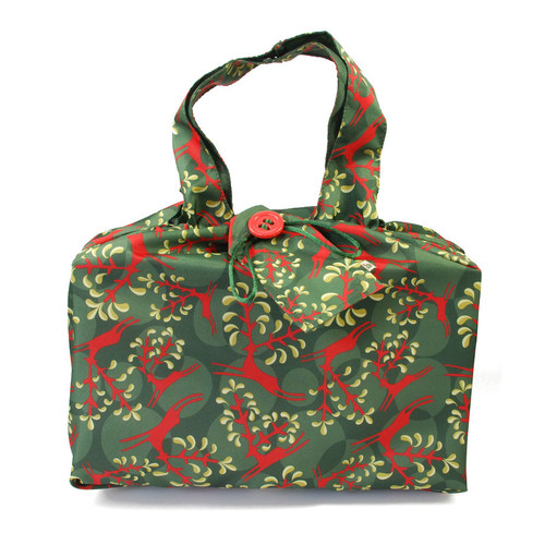Large fabric Gift Bag in Holly Green / Red.  Shown wrapping example gift.