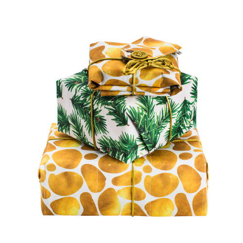 1 x Reversible Gift Wrap: Pine Sprigs & Golden Pebbles