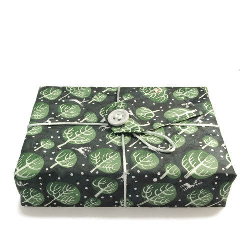 Medium Crackle wrap in Winter Trees print - Midnight Blue.  Shown wrapping example gift.