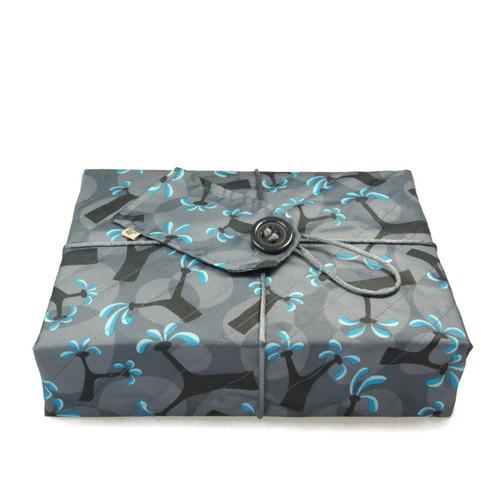 Medium Crackle wrap - Cartwheeling Trees print in Ocean Blue.