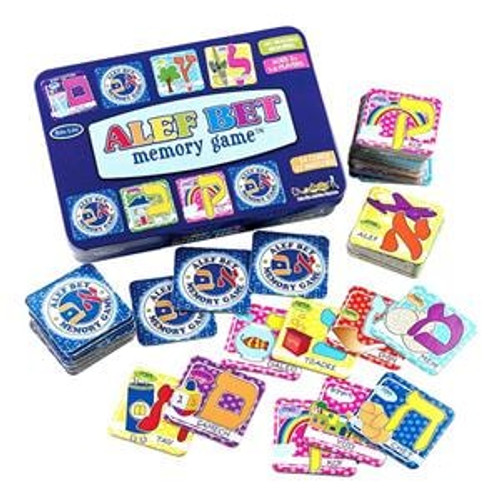 Hebrew Alef Bet Memory Game in Tin Box