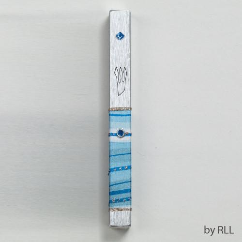 """Decorated Aluminum Mezuzah """"Blue Horizon"""" - D5.5"""""""