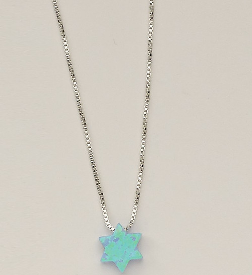 """Blue Opal """"Star of David"""" Pendant, on 16"""" Sterling Chain"""