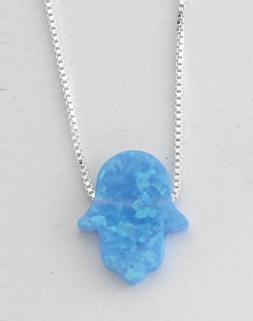 "Light Blue Opal Hamsa on 16"" Sterling Chain"