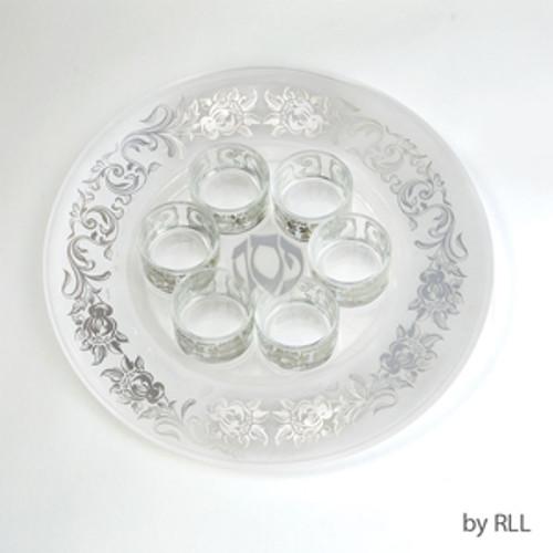 7 Piece Glass Seder Set with Silver Floral Design