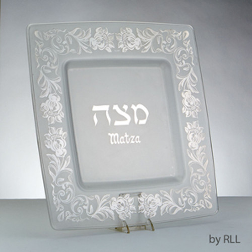 Glass Matzah Tray With Silver Floral Design