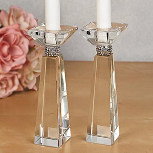 Crystal Candlesticks with Diamond Adornment