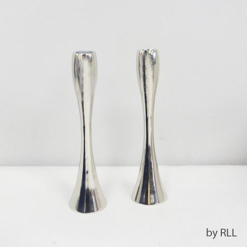 "9"" Silvertone Contemporary Candlesticks, Set of 2"