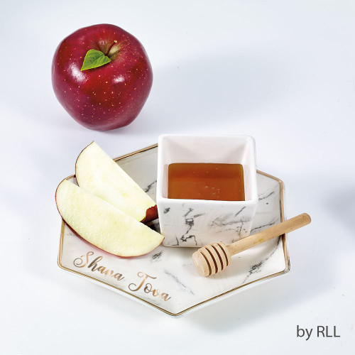 Hexagon Shaped Porcelain Apple & Honey Dish Set, Marble...