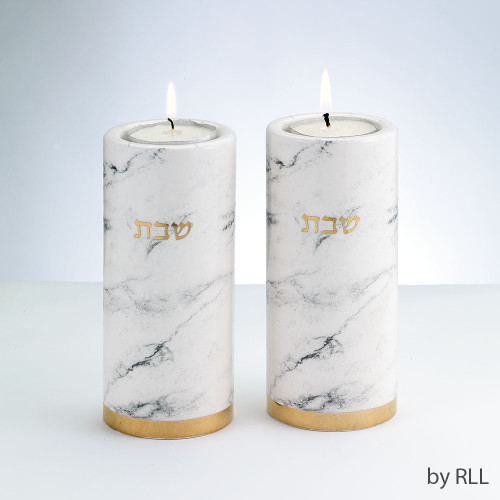 Ceramic Candlestick Set, Marble Design, Gold Accents
