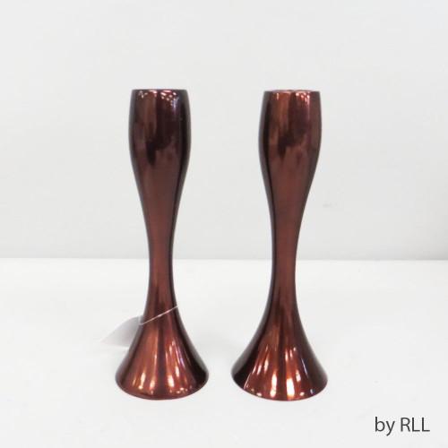"7"" Contemporary Candlesticks, Copper Color, Set of 2"