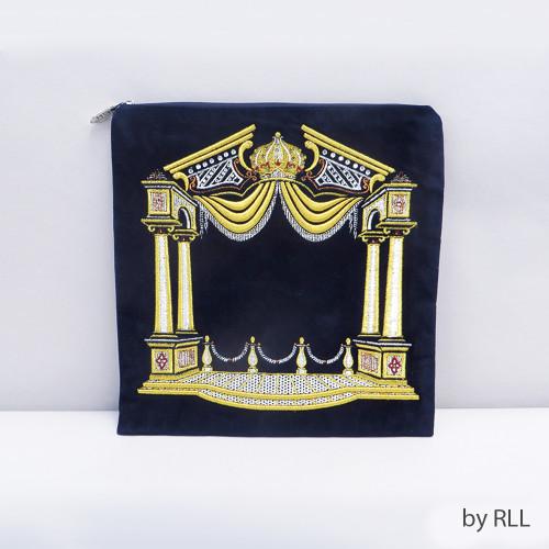 Blue/Gold Columns Velvet Tefillin Bag