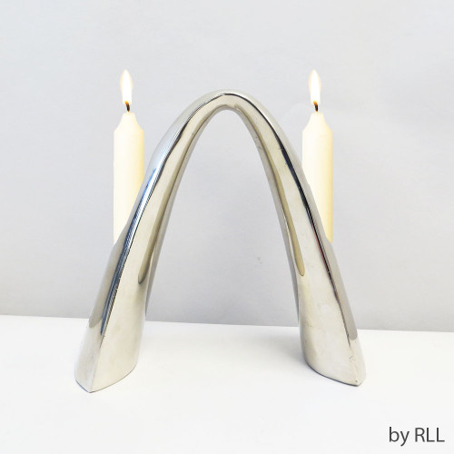 2 Light Cast Aluminum Arch Candlestick Sculpture,velvet BOx