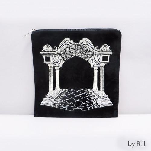 """Black/Silver """"Arch"""" Velvet Tefillin Bag"""