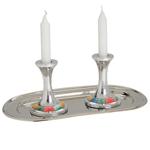 Aluminum Candle holders, with a bottom colorful design on a plate