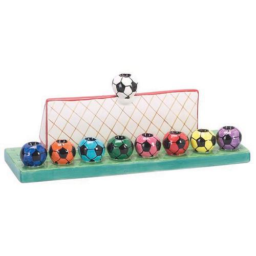 Soccer balls Ceramic Menorah