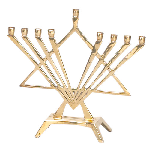 Brass Menorah like a Musical Instrument