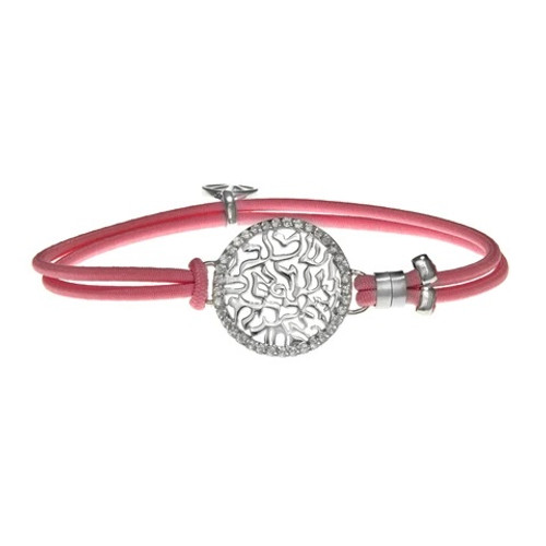 Hannah-חנה Shema Bracelet Silver w Pink Bracelet