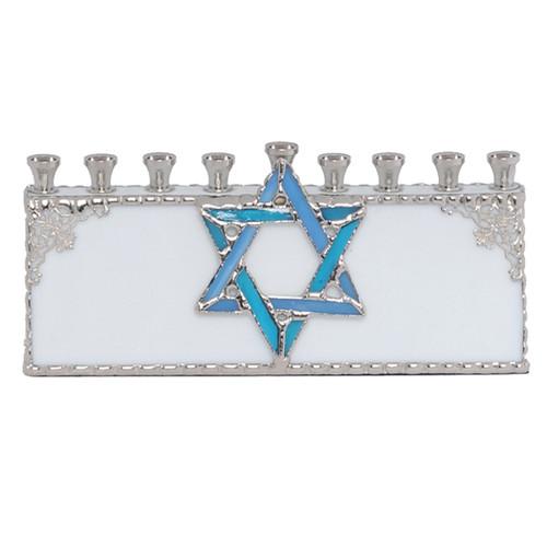 Glass Menorah with Star of David