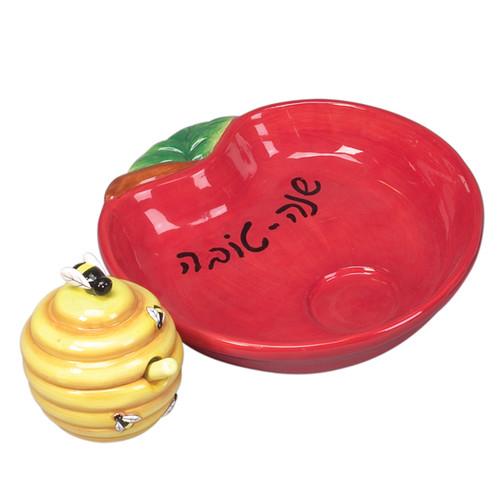 """Ceramic """"Shana Tova"""" Honey Dish"""