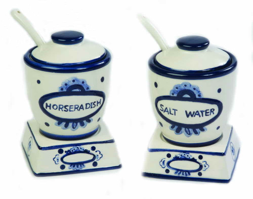 Ceramic Salt Water and Horseradish Server Set