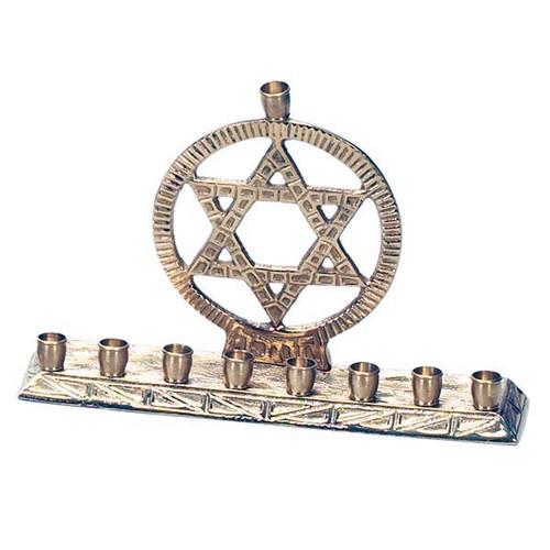 Brass Menorah with a Star Of David Design