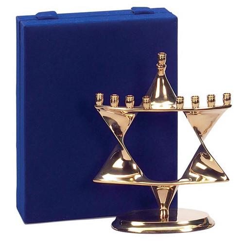 Brass Menorah Star Of David With Velvet Box