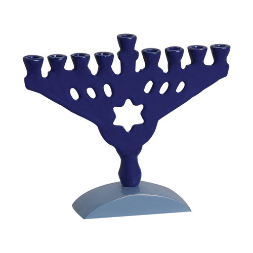 Aluminum Blue Menorah with Star of David
