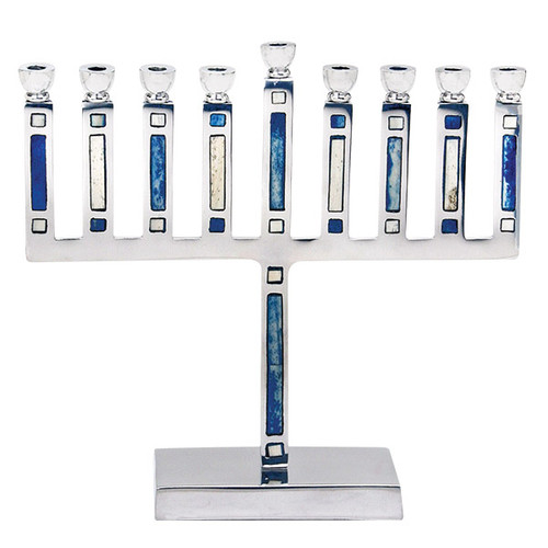 Aluminum Menorah with diffrent Blue and white inlay
