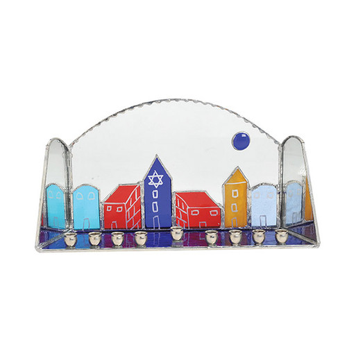 Glass Jerusalem design Menorah