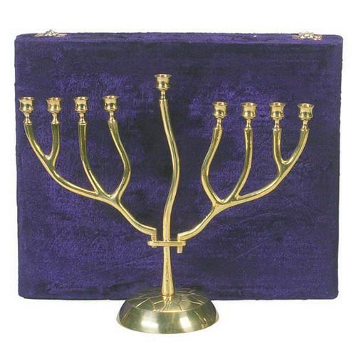 Brass 2 branches Menorah with Velvet Box